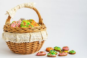Colorful Easter cookies in a basket