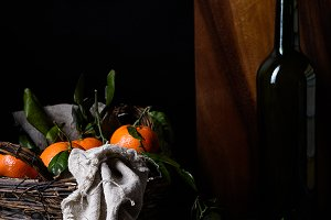 Ripe clementines in a basket