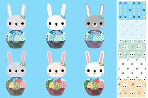 Cute Easter egg hunt bunny clipart