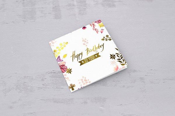 Square Greeting Card Mockups