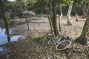 Rural thai village with bicycle