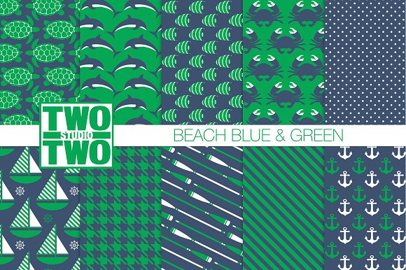 Blue And Green Beach Patterns
