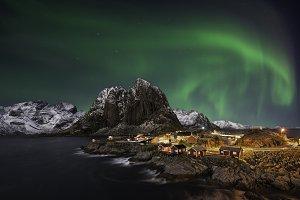Beautiful aurora over Hamnoy, Norway