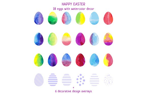 18 Easter Eggs With Watercolor Decor