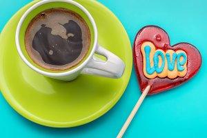 Lollipop and espresso.