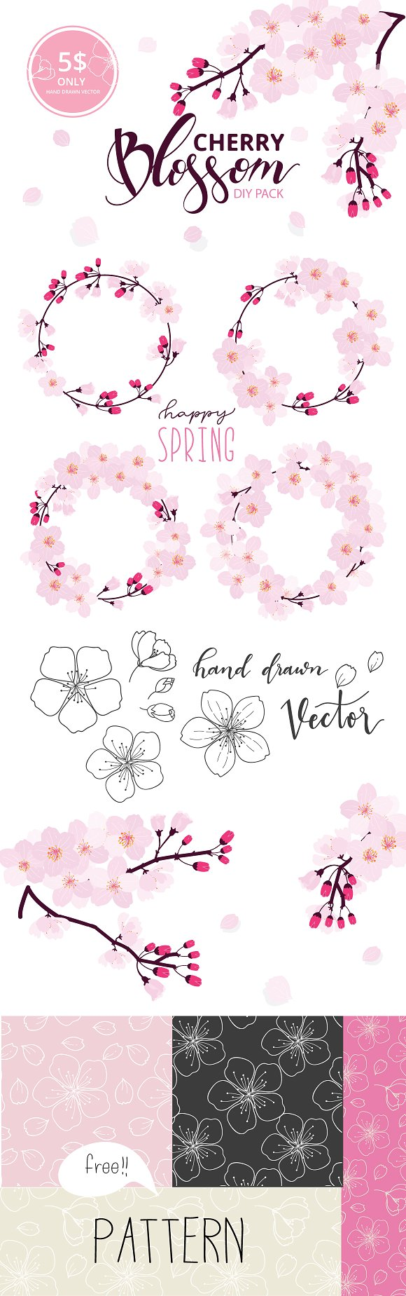 Set II Cherry Blossom Hand Drawn