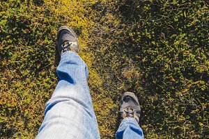 My shoes walking on grass