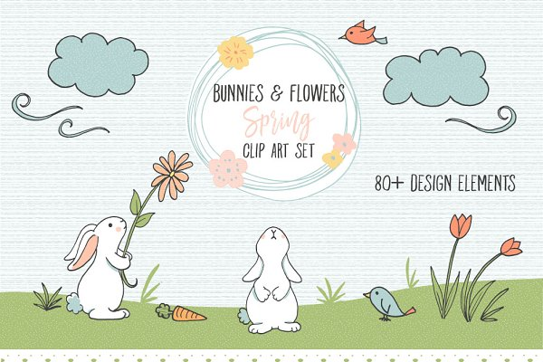 Bunnies and Flowers Spring Clip art