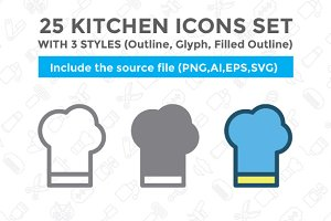 25 Kitchen icon set with 3 styles