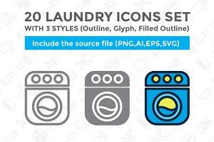 20 Laundry icon set with 3 styles