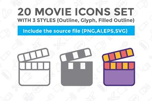 20 Movie icon set with 3 styles