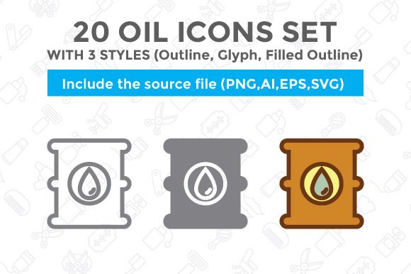 20 Oil Icon Set With 3 Styles