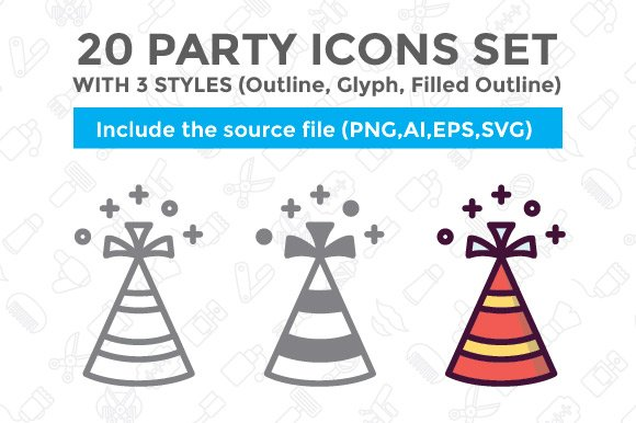 20 Party Icon With 3 Styles