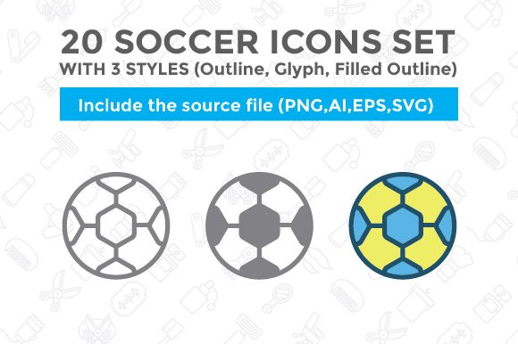 20 Soccer Icon Set With 3 Styles