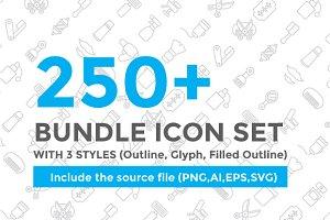 250+ Bundle Icon set - 90% Off