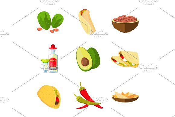 Mexican Taco Burrito And Nachos Food Avocado Tequila Red Hot Pepper Vector Cartoon Icons