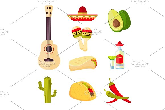 Mexican Cuisine Cartoon Vegetables Food And Drinks Vector Stock Menu Icons