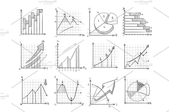 Cartoon Sketch Business Graphic Charts Vector Doodle Infographics Elements