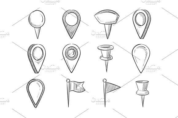 Hand Drawn Map Pointers Doodle Navigation Pins Vector Set