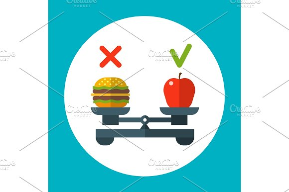 Diet Food Balance Healthy Vector Concept With Apple And Hamburger On Scales