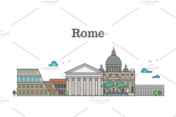 Line Art Rome Architecture Italy Buildings Vector Illustration