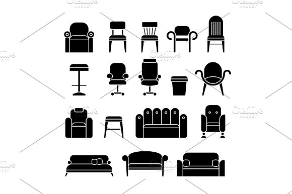 Office Hair Armchair Lounge Comfortable Sofa Couch Furniture Vector Icons
