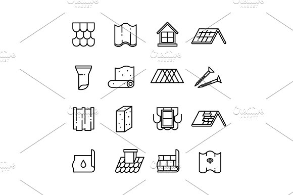 Roof Housetop Construction Materials Waterproofing Thin Vector Icons