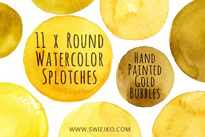 Watercolor Bubbles, Gold