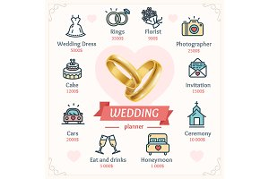 Wedding Planner Concept with Rings