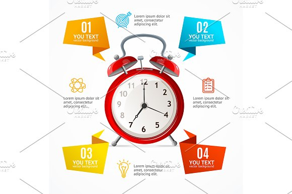 Alarm Clock Menu Infographic Banner
