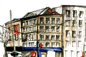 Urban sketch. Street view