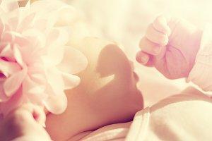 Closeup of beautiful baby. Toning