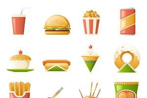 Retro Flat Fast Food