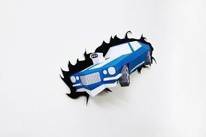 DIY Car Wall decor - 3d papercrafts