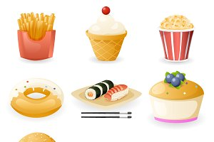 Retro Flat Fast Food Icons