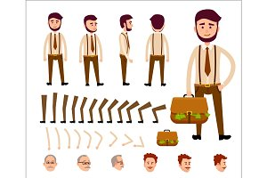 Cartoon Man Constructor Isolated Illustration