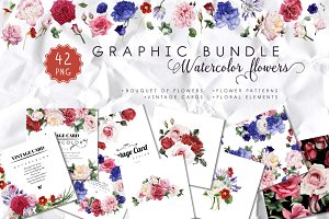 Watercolor flowers graphic bundle