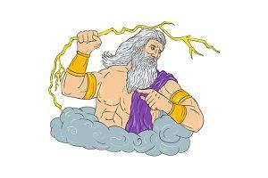 Zeus Wielding Thunderbolt Lightning