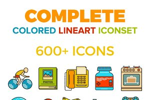 Complete colored lineart icon bundle