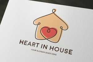 Heart in House Logo Template