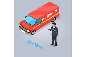 Global Delivery Service Isolated Illustration