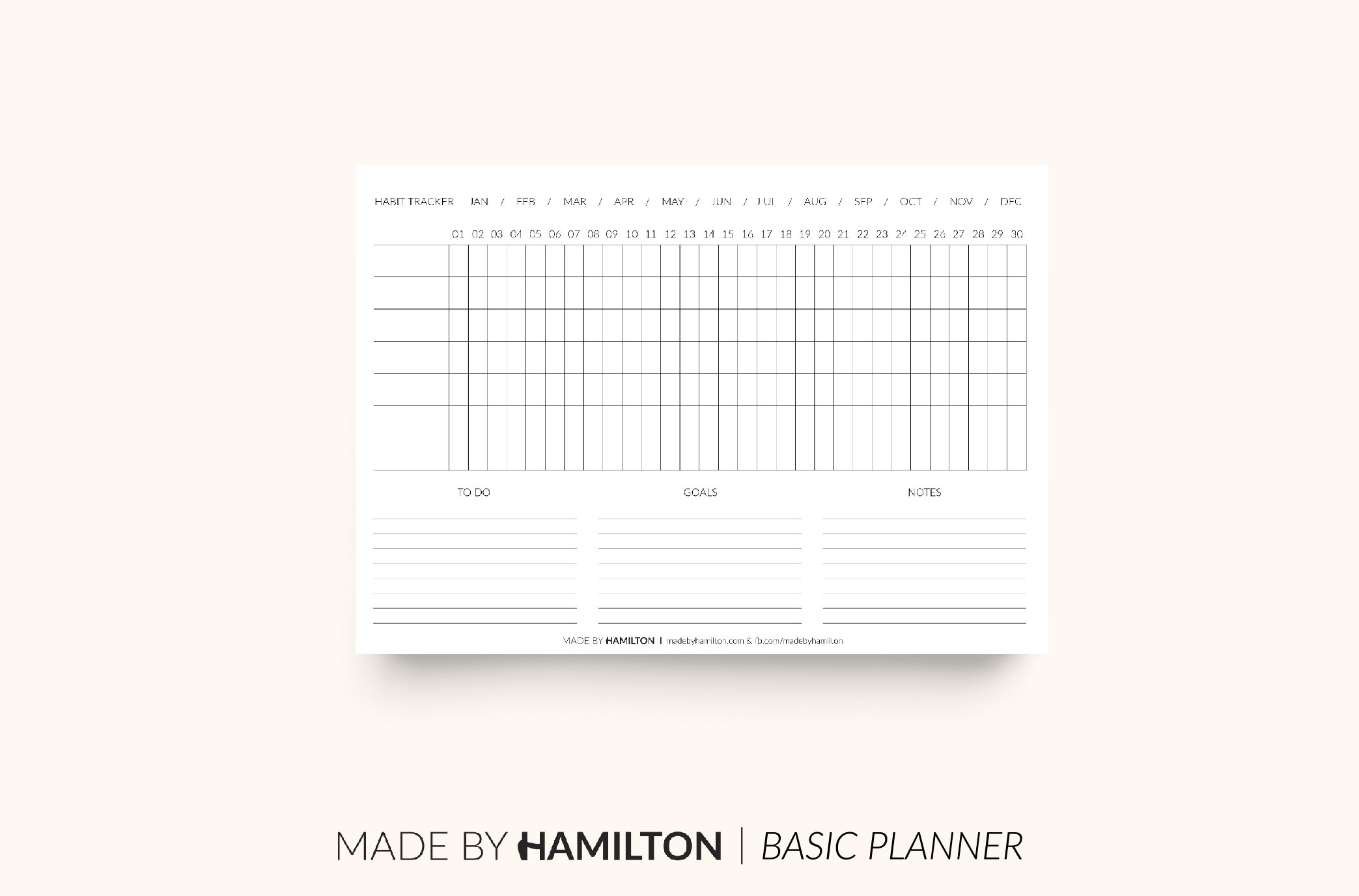 Monthly Habit Tracker Printable ~ Stationery Templates