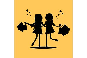 Silhouettes of Girls with Shopping Bags. Friends