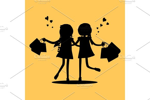Silhouettes Of Girls With Shopping Bags Friends