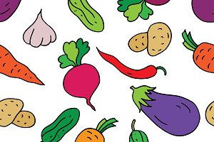 Seamless pattern of vegetables