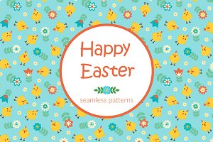Happy Easter seamless patterns