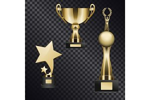 Realistic Golden Trophy Cups Illustrations Set