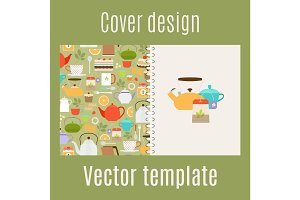 Cover design with teapots pattern