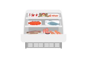 Fish and seafood products in store