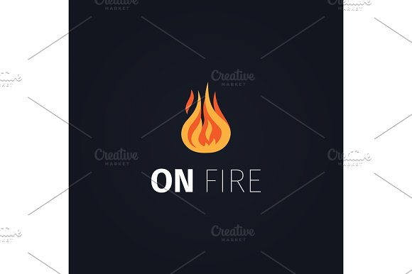 On Fire Flame Logo Template